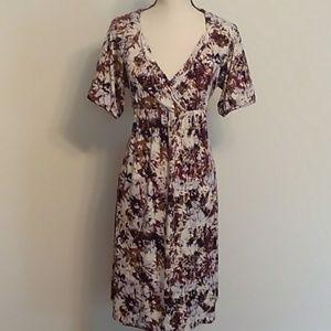Axcess black/cream/brown print dress Lg NWOT